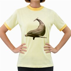 Dolphin 3 Womens  Ringer T-shirt (Colored)