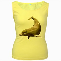 Dolphin 3 Womens  Tank Top (Yellow)