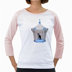Cat 1 Womens  Long Sleeve Raglan T-shirt (White)