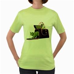 Cat 2 Womens  T-shirt (Green)