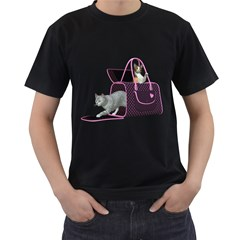 Cat 2 Mens' Two Sided T-shirt (Black)