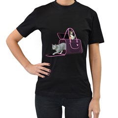 Cat 2 Womens' Two Sided T-shirt (Black)