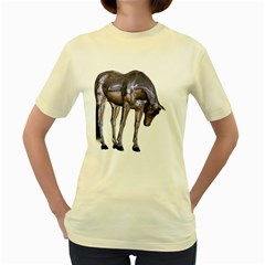 Metal Horse 2  Womens  T-shirt (Yellow)