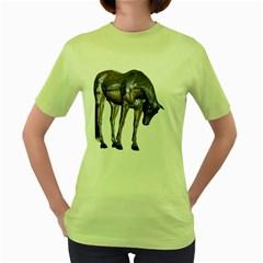 Metal Horse 2 Womens  T-shirt (Green)