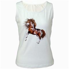 Native Horse Womens  Tank Top (white)