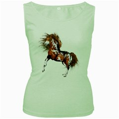 Native Horse Womens  Tank Top (Green)