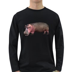 Hippo 1 Mens' Long Sleeve T-shirt (Dark Colored)