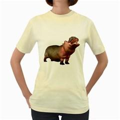 Hippo 2  Womens  T-shirt (Yellow)