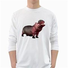 Hippo 2 Mens' Long Sleeve T-shirt (White)