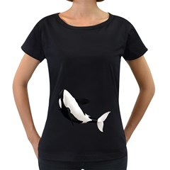 Orca Whale 2 Womens' Maternity T Shirt (black)