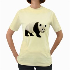 Panda Bear 2  Womens  T-shirt (Yellow)