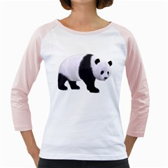 Panda Bear 2 Womens  Long Sleeve Raglan T-shirt (White)
