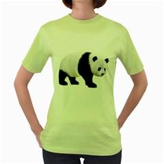 Panda Bear 2 Womens  T-shirt (Green)