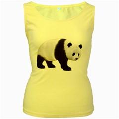 Panda Bear 2 Womens  Tank Top (Yellow)
