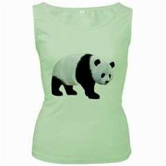 Panda Bear 2 Womens  Tank Top (Green)