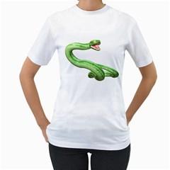 Green Snake Womens  T Shirt (white)