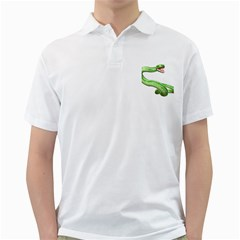 Green Snake Mens  Polo Shirt (White)