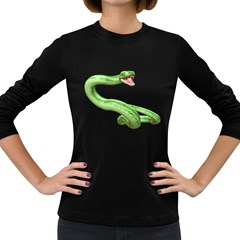 Green Snake Womens' Long Sleeve T Shirt (dark Colored)