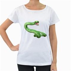Green Snake Womens' Maternity T Shirt (white)