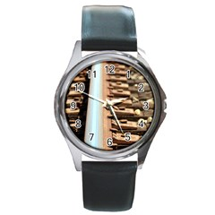 Train Track Round Metal Watch (Silver Rim)