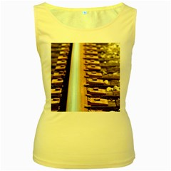 Train Track Womens  Tank Top (Yellow)