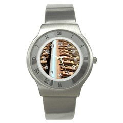 Train Track Stainless Steel Watch (Unisex)