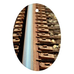 Train Track Oval Ornament (Two Sides)