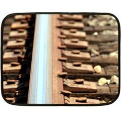 Train Track Mini Fleece Blanket (Two-sided)
