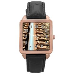Train Track Rose Gold Leather Watch