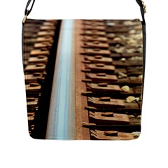 Train Track Flap Closure Messenger Bag (Large)