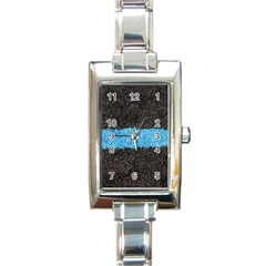 Black Blue Lawn Rectangular Italian Charm Watch