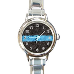 Black Blue Lawn Round Italian Charm Watch