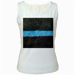 Black Blue Lawn Womens  Tank Top (White)