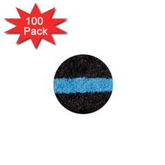 Black Blue Lawn 1  Mini Button (100 Pack)