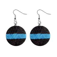 Black Blue Lawn Mini Button Earrings