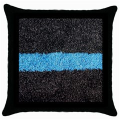 Black Blue Lawn Black Throw Pillow Case