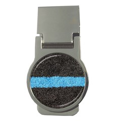 Black Blue Lawn Money Clip (Round)