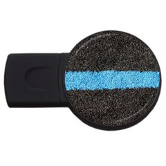Black Blue Lawn 1GB USB Flash Drive (Round)
