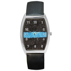 Black Blue Lawn Tonneau Leather Watch