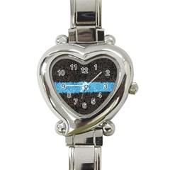 Black Blue Lawn Heart Italian Charm Watch