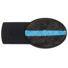 Black Blue Lawn 4GB USB Flash Drive (Oval)