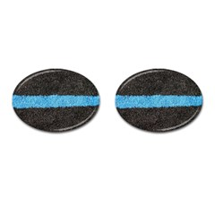 Black Blue Lawn Cufflinks (Oval)