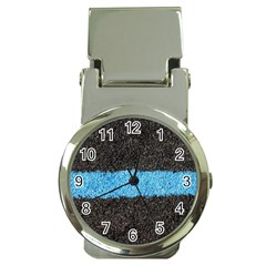Black Blue Lawn Money Clip with Watch
