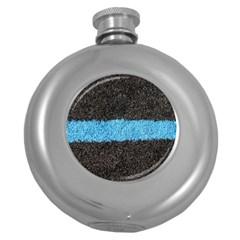 Black Blue Lawn Hip Flask (Round)