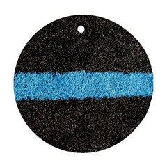 Black Blue Lawn Round Ornament (Two Sides)