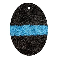 Black Blue Lawn Oval Ornament (Two Sides)