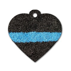 Black Blue Lawn Dog Tag Heart (Two Sided)