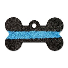 Black Blue Lawn Dog Tag Bone (one Sided)