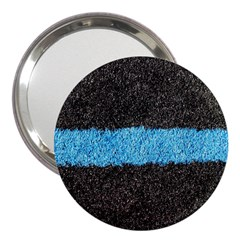 Black Blue Lawn 3  Handbag Mirror