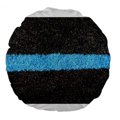 Black Blue Lawn 18  Premium Round Cushion